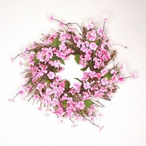 Other - Pink Faux Floral Wreath NWT
